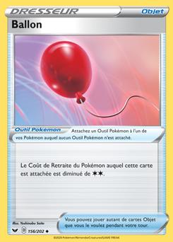 EB01:Épée et Bouclier 156//202 Ballon Carte Pokemon Neuve Française