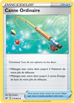 carte pokemon canne ordinaire reverse 171202 serie épée et